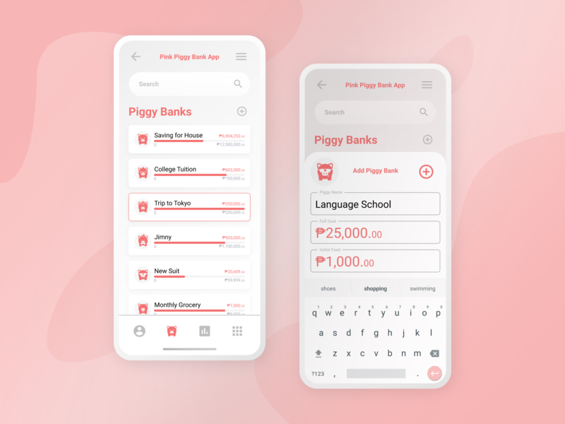 Add Piggy Bank dailyui pink bank piggybank piggy finance branding app ui figma