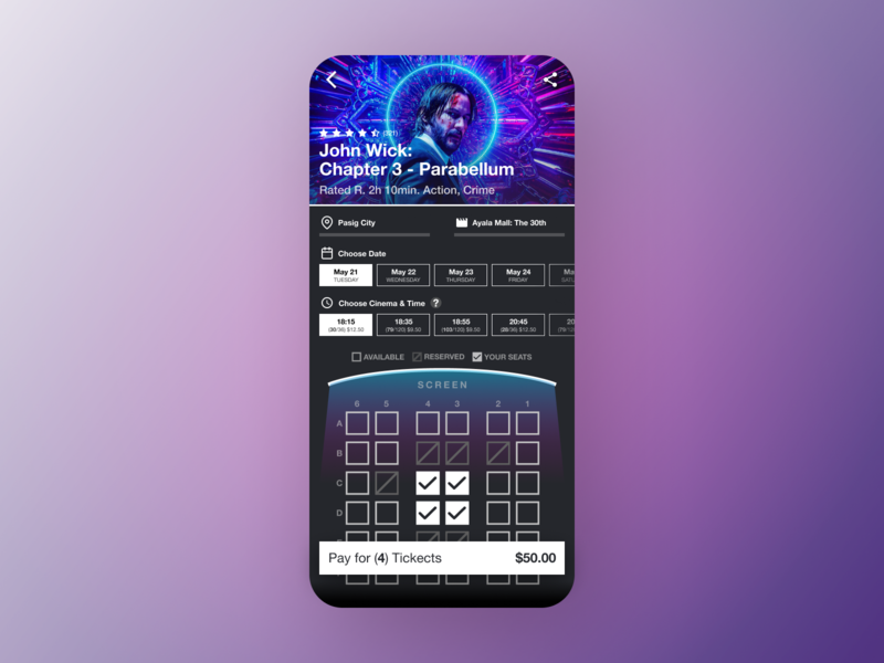 Movie Seat Booking App (2/4) movie app bookin seat movie design mobile ui figma dailyui