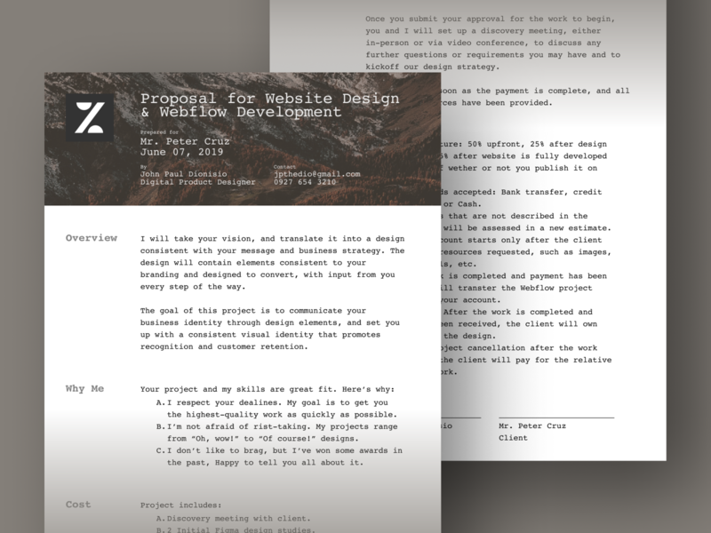 Proposal Template By Jpthedio by John Paul Dionisio on Dribbble