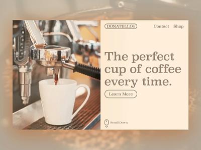 Donatello. Coffee Machine Website landingpage company ecommerce machine coffee photoshop after effects website ux branding design ui dailyui