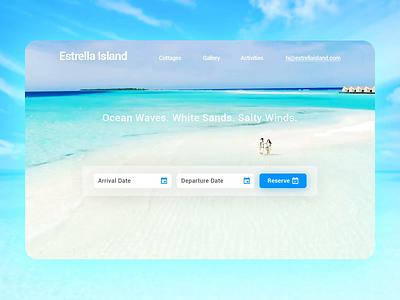 Estrella Island reservation photoshop beautiful webflow beach after effects website ux branding design ui dailyui