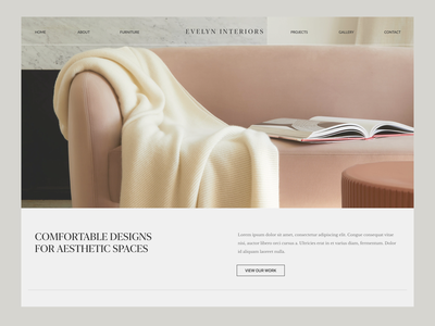 Evelyn Interiors   Concept minimalist interior design website clean ui neutrals concept art ui design website design interior design