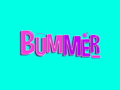 Bummer text effect vector fontgraphic typography design