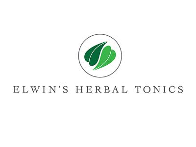 Elwins Herbal Tonics logo design branding identity herbal logo simple design