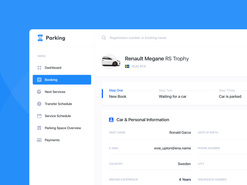 Airport Parking - Booking Details 🚘 user interface product design b2b transport airport transportation automotive booking rent car web design web ui  ux parking lot parking app parking dashboad saas crm admin panel