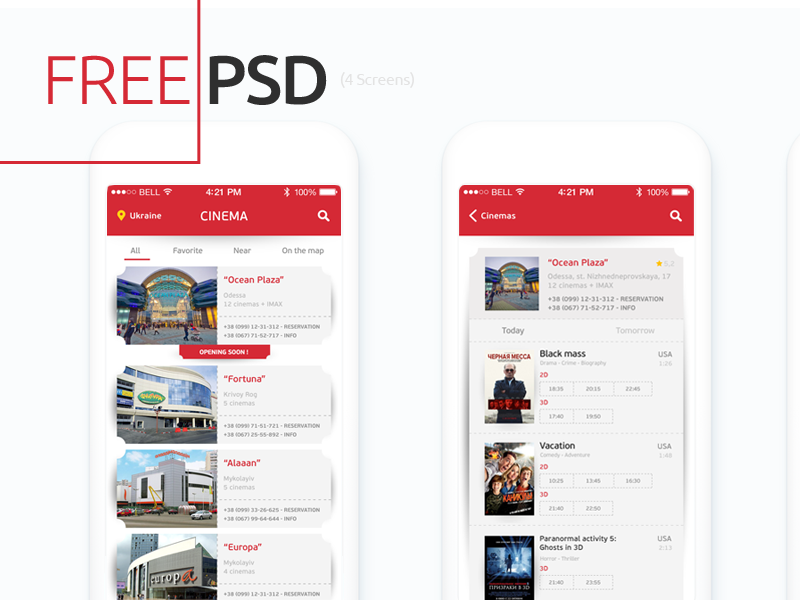 Freebie PSD: Cinema App