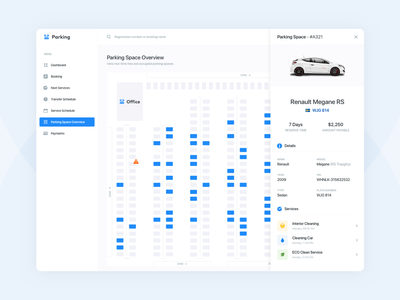 Parking Scheme task crm web design web service saas b2b dashboad admin panel parking lot rent airport automobile car reserve user experience user inteface ux ui parking