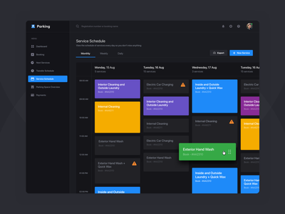 Daily Service Schedule - Dark Version kanban web design web ux user experience user inteface ui service auto schedule saas rent parking colors cleaning car calendar admin panel dashboard admin