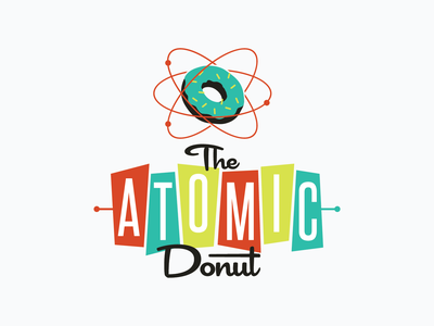 The Atomic Donut electron vintage logo age atomic atom donut