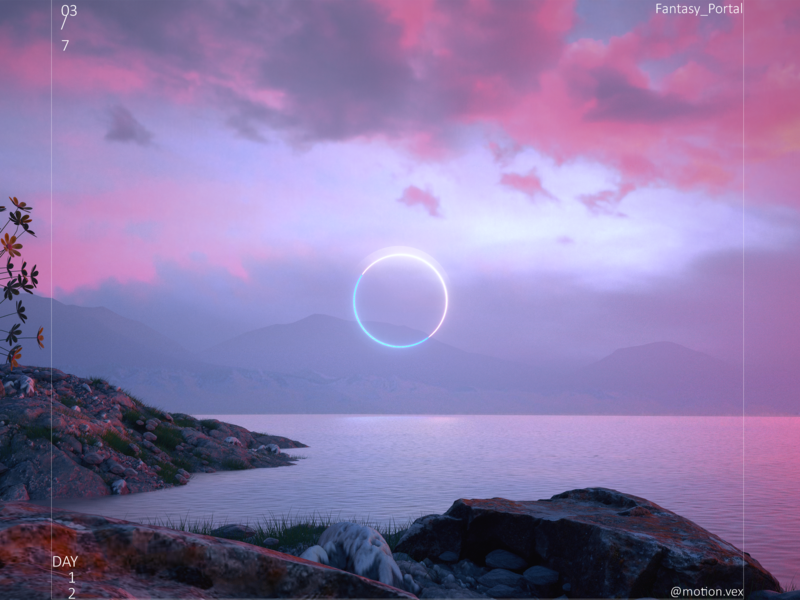 Fantasy Portal ring portal fantasy moutain web glow design art artwork design cinema4d c4d 3d