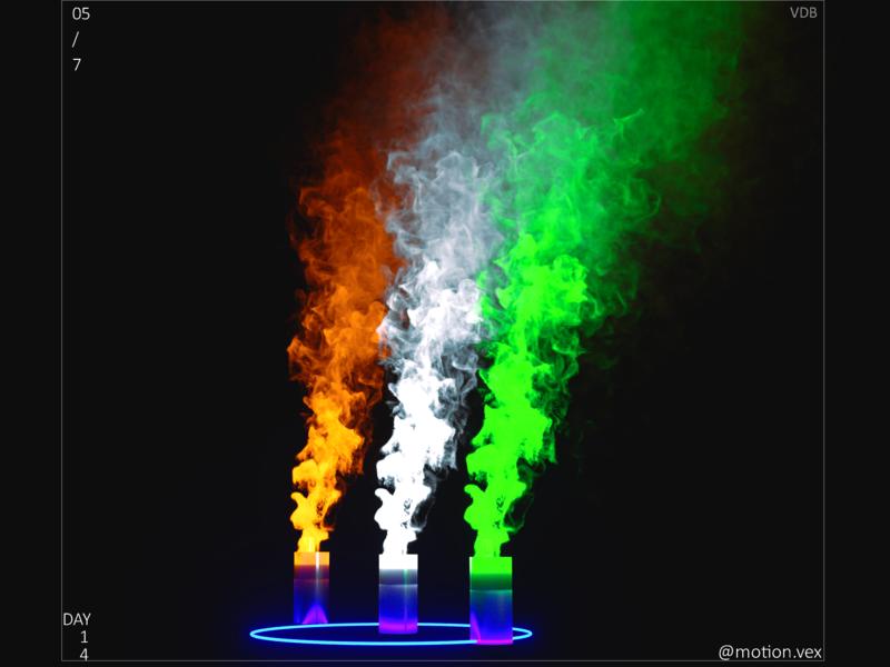 Vdb tricolor smoke flag indan glow design art artwork design cinema4d c4d 3d