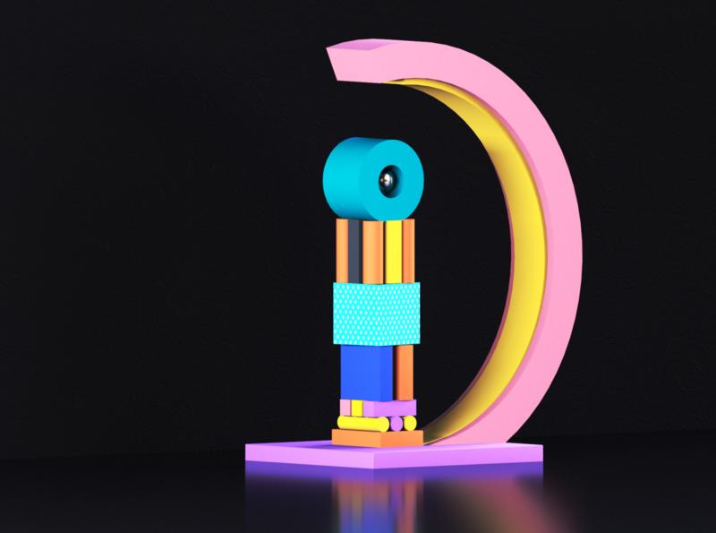 """D"" Illustration 36daysoftype 3d art ui alphabet typography illustration design art design artwork cinema4d c4d 3d"