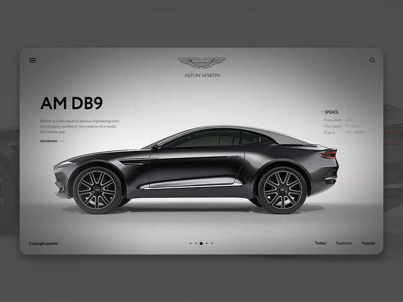Promo site Aston Martin ui photoshop premium aston martin car webdesign website promo site site