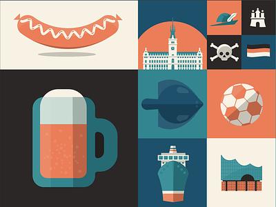 WIP illustration project for Hamburg, Germany. hat germany hamburg fish architecture soccer st pauli ship boat pint beer hot dog weiner sausage grid flat design illustrator illustration