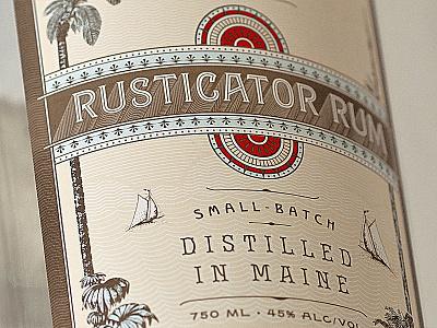 Rusticator Rum label rum typography design lettering ornate
