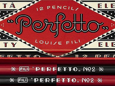 Perfetto Pencils packaging pencils italian deco monoline script louise fili art deco lettering typography