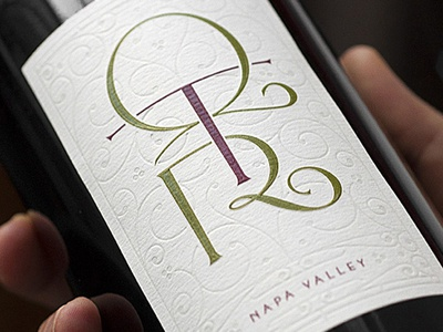 QTR Wines wine label lettering typography