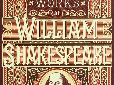 Complete Works of William Shakespeare gold lettering typography illustration shakespeare