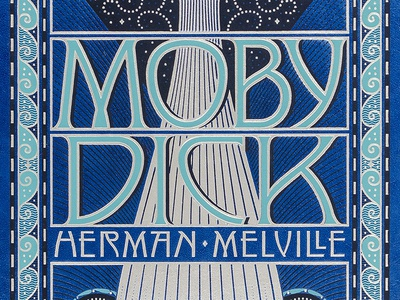 Moby Dick leatherbound foil illustration typography lettering