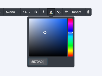 Inline typography control color picker email wysiwyg