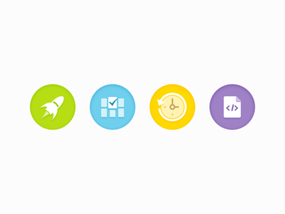 Circle Icons rocket gallery time file code icon
