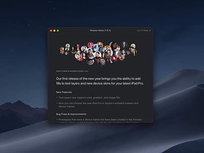 New Update Window | InVision Studio app ui invision animation invision studio