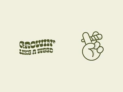"""Peace"" - Growin' Like a Weed sticker packaging illustration logo peace branding high joint dank cannabis marijuana weed"