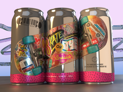 Skate or Dye 90s Can beer can label brewery skate or die british columbia vancouver 90s sticker skateboard skate canada hops alcohol tall boy can design can hazy ipa beer