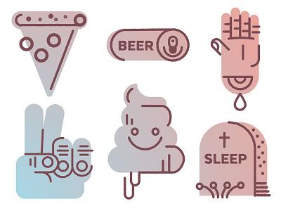 Hackathon Iconz farewell my sweet dreams hand beer pizza poop emoji rocket science hackathon