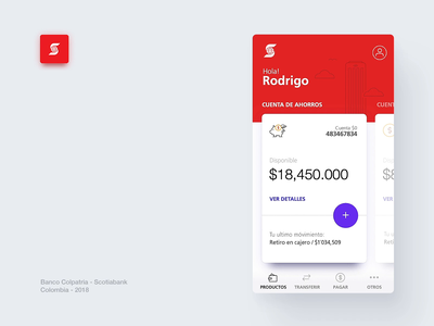Scotiabank Colpatria App - Dashboard v.3 user experience minimal dashboard user interface colpatria microinteraction scotiabank ios banking android interaction interface finance design bank gif app ux animation ui