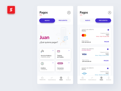 Scotiabank Colpatria App - Payments New Vs. Frequent digital factory user inteface payment app website flat menu cards scotiabank favourites payment illustration ios banking interface finance design bank app ux ui