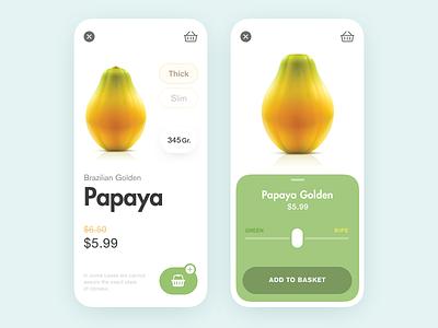 Papaya's good! e-commerce fruit website web purchasing add to basket add to cart shop app shop design shop online purchase flat minimal interface design app ux ui