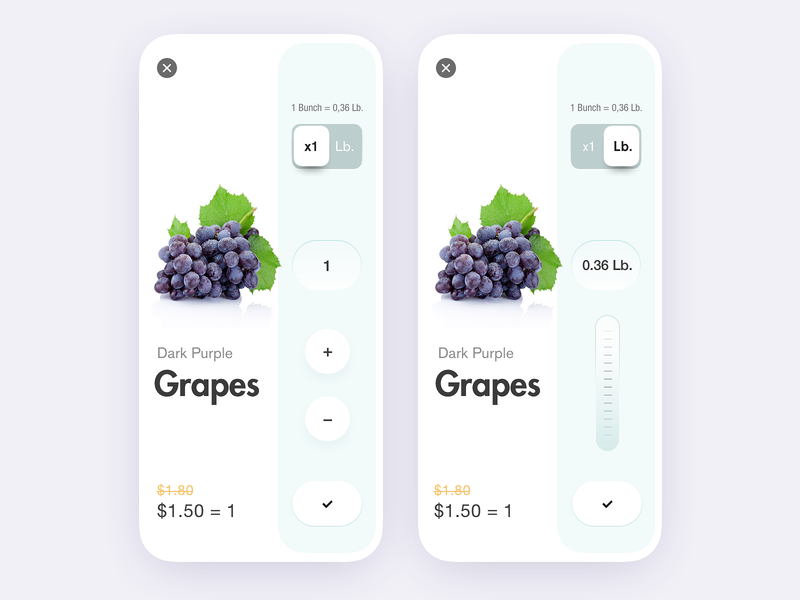 Fruit Store App Qty. Concept e-commerce app e-commerce shop online store design fruit store store app purchasing purchase add to basket add to cart website web flat minimal interface design app ux ui