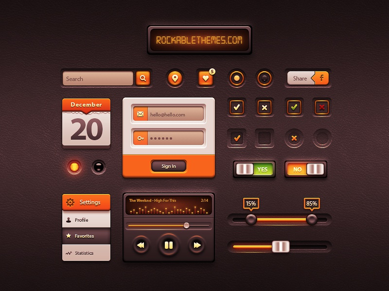 Caramel Freebie caramel white orange ui kit interface rockable themes glossy gloss date login button search