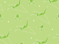 Origami inspired Crane & Frog pattern