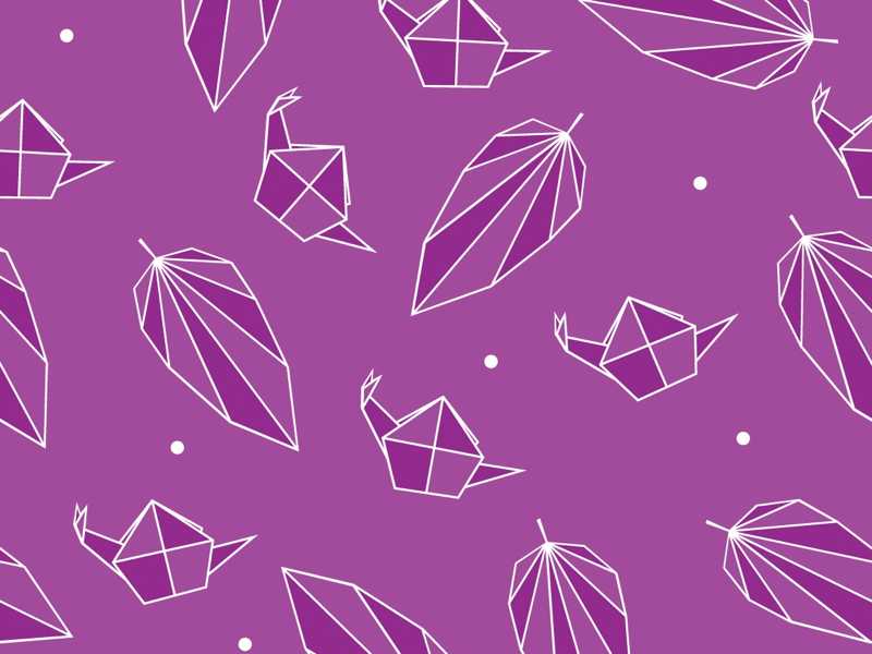 Snail & leaf origami inspired seamless schnecki creative schnecki purple pattern design simple origami inspired