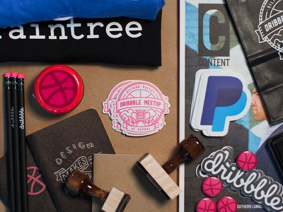 Swag for the Dribbble Meetup at PayPal braintree pencil scoutbook stamps stickers swag paypal meetup dribbble