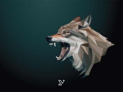 Low poly vector head of a grey wolf in high detail.
