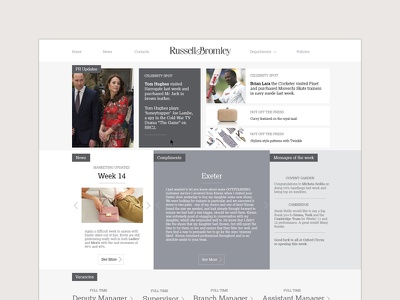 Solution Design for Russell & Bromley intranet design grey clean russell and bromley
