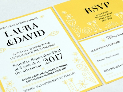 Spring Themed Wedding invites illustration spring theme wedding invitations