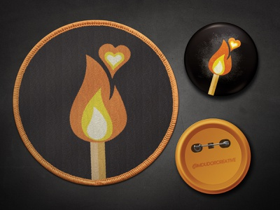 Lit Match Pin and Patch texture heart black orange fire match accessories apparel graphic design patch pin patches pins