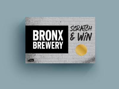 Bronx Brewery Scratcher card postcard print promotional material promo promotion lottery brick halftone black and white grunge graffiti brewery nyc new york bronx