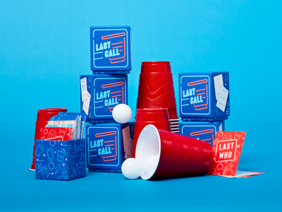 Last Call Game Design illustration icons card game packaging neon solo cup adult pary red white blue drinking game drinking last call game