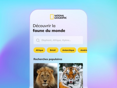 Daily UI #22 - Search National Geographic searching ux ui national geographic animals app gradient mash gradient colors design daily ui daily 100 challenge