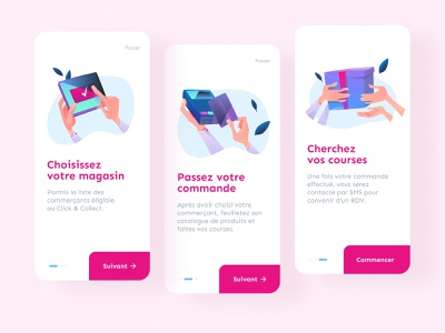Daily UI #23 - Onboarding Click&Collect onboarding daily ui app ux ui illustration ui design pink colors daily 100 challenge