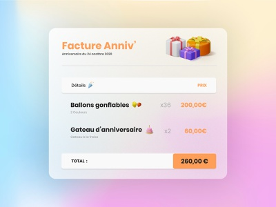 Daily UI #46 - Invoices gift boxes gift illustration ui design colors ui design daily ui daily 100 challenge