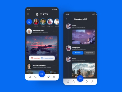 Daily UI #47 - Activity feed ps5 app ps5 social dark application ui design app interface colors design ui daily ui daily 100 challenge