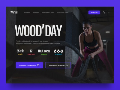 Daily UI #62 - Workout of the day workout of the day site dark webdesign web interface ui design ui colors design daily ui daily 100 challenge