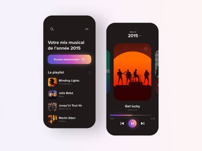Daily UI #63 - Playlist Best of 2015 ui design music app playlist music daft punk application dark colors design ui daily ui daily 100 challenge