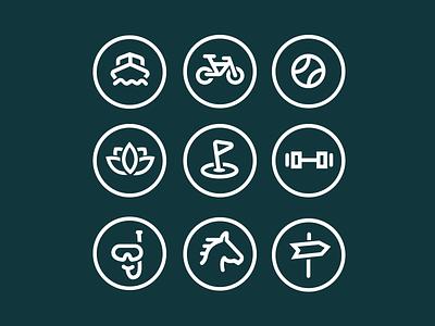 Luxury Community Lifestyle Icons icon bike boat tennis spa golf swim lifestyle horse sign real estate community